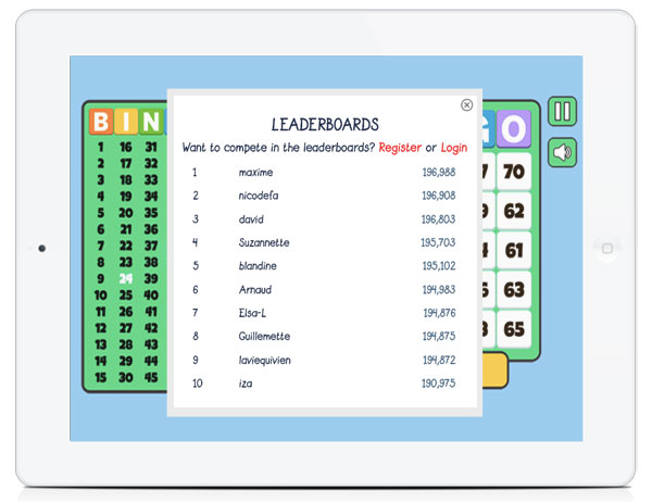 White Label Board Game HTML5 Leaderboards